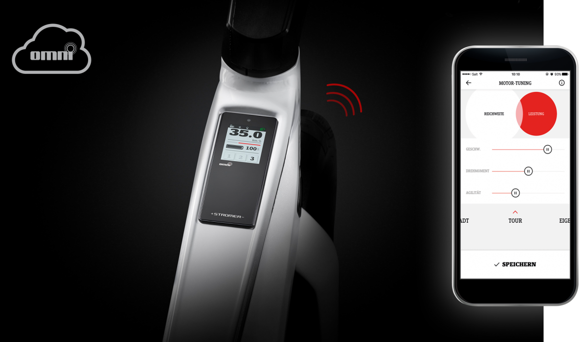Stromer bike with a mobile phone